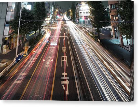 Stoplights Canvas Print - Traffic Trails At Night, Tokyo by Spiraldelight