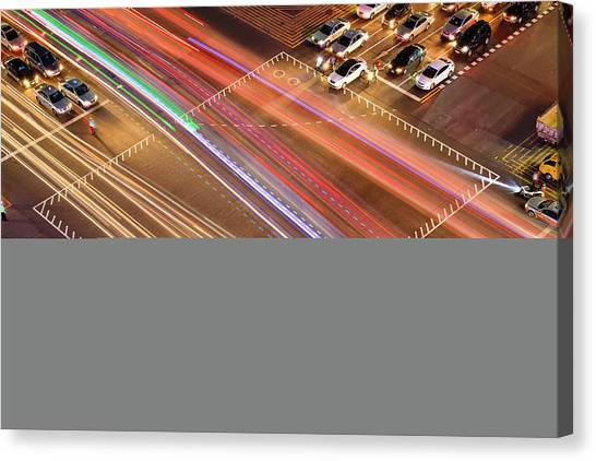 Stoplights Canvas Print - Traffic Trails Of Intersection by SJ. Kim
