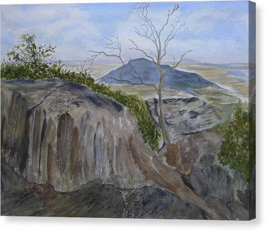 Trails End - Rocks Trees And Sky Canvas Print by Joel Deutsch