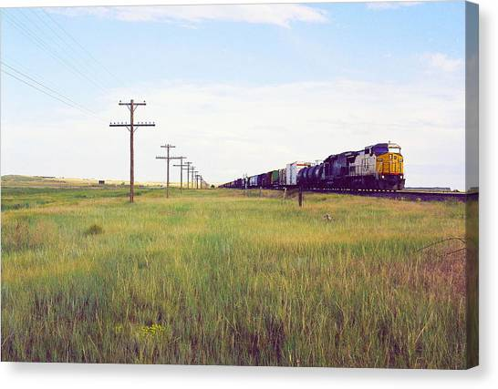 Train And Poles Canvas Print by Trent Mallett