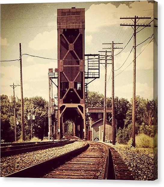 Mississippi Canvas Print - #train #bridge #mississippi #river by Shwa Moen