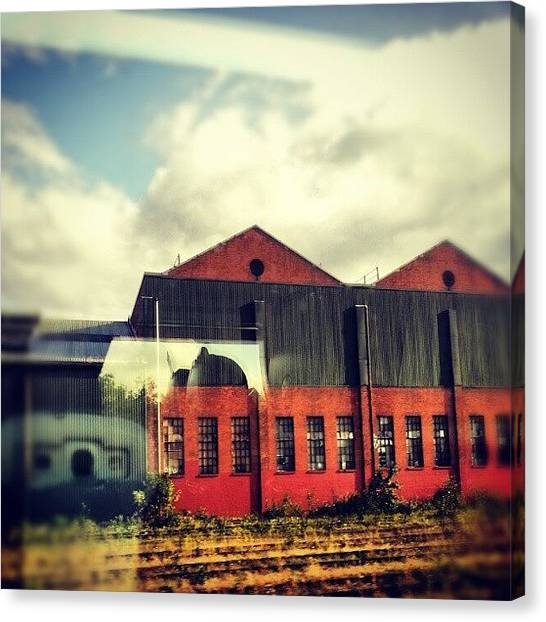 Warehouses Canvas Print - #train #movement #trainjourney by Mish Hilas