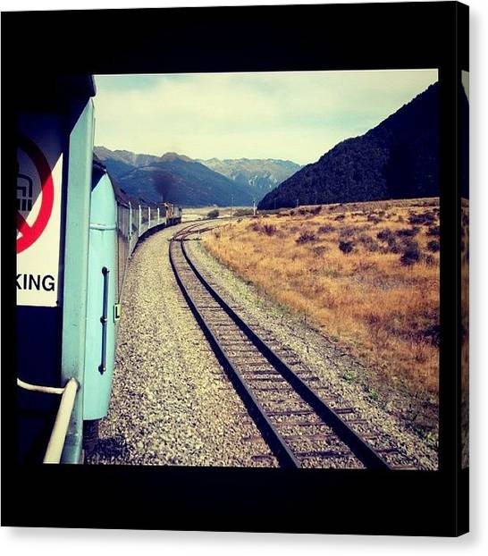 Foxes Canvas Print - #train #newzealand #pass #mountains by Mark Hutchinson