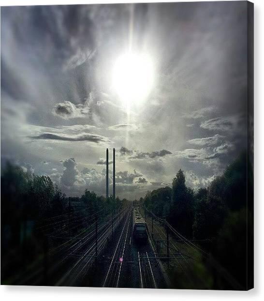 Back Canvas Print - #train #sun #sky #sunset #summer by Ole Back