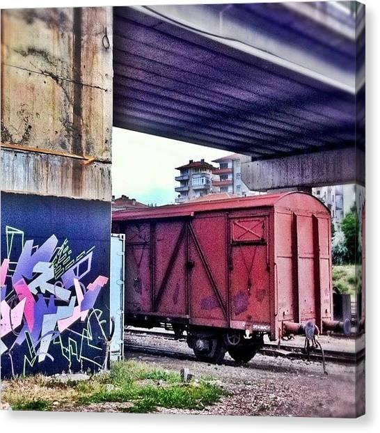 Freight Trains Canvas Print - Train Yard by Tunc Dindas