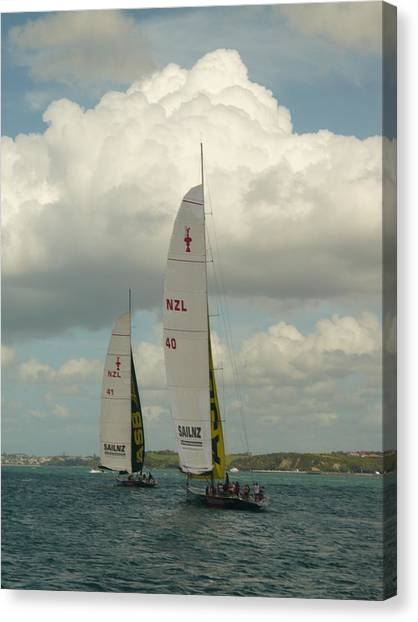 Training On The Harbour Canvas Print by Amy Jayne Roper