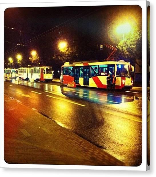 Saints Canvas Print - #tram #traffic #jam #early #morning by Anna Albrecht