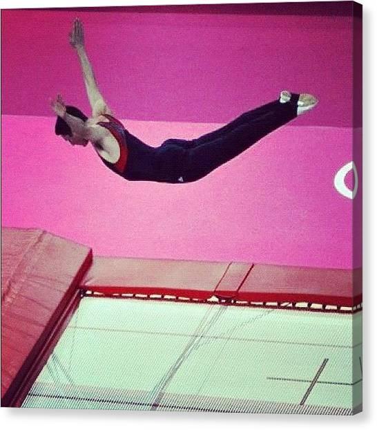 Trampoline Canvas Print - #trampolining #trampoline #gymnastics by Nerys Williams