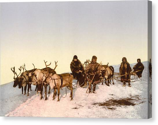 Sleds Canvas Print - Travel By Reindeer by International  Images