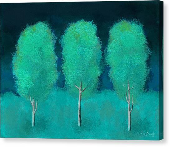 Trees In Triplicate Moonlit Winter Canvas Print