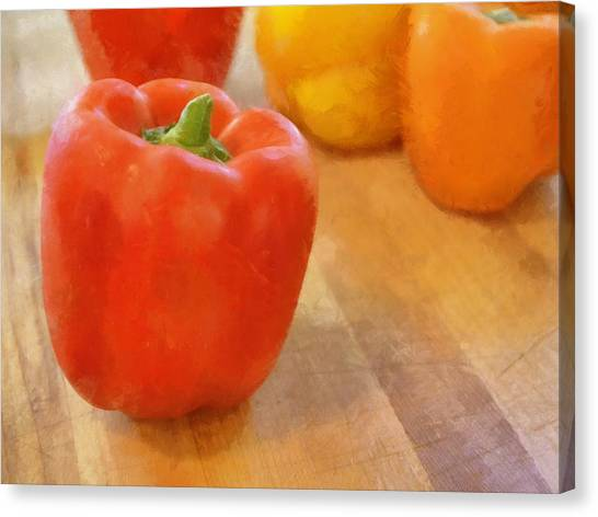 Tri Colored Peppers Canvas Print