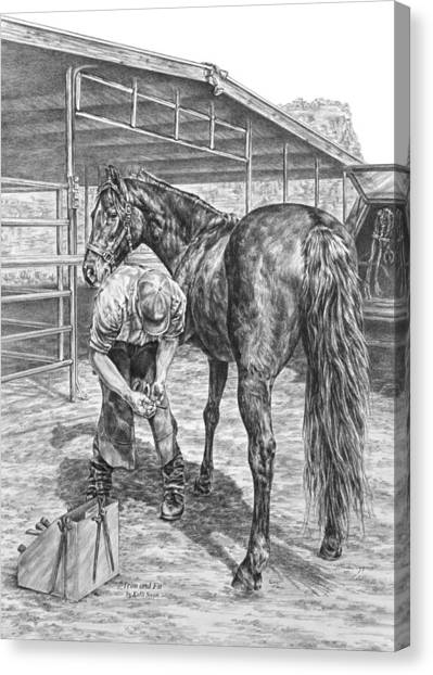 Trim And Fit - Farrier With Horse Art Print Canvas Print