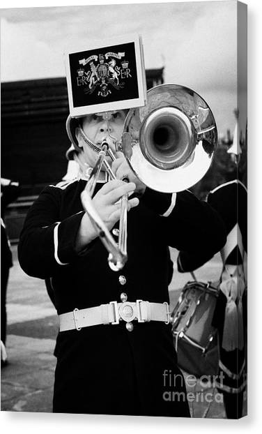 Royal Marines Canvas Print - trombone player of the band of HM Royal Marines Scotland at Armed Forces Day 2010 by Joe Fox