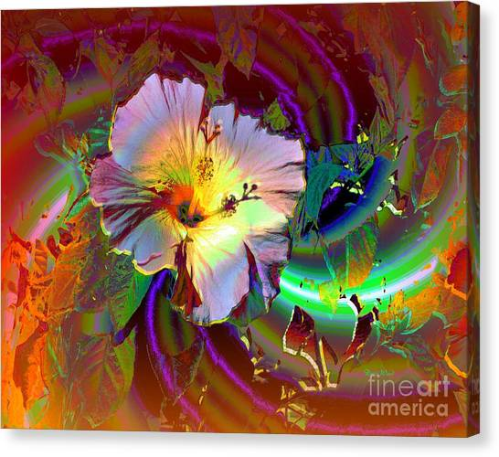 Tropical Hibiscus Explosion Canvas Print by Doris Wood