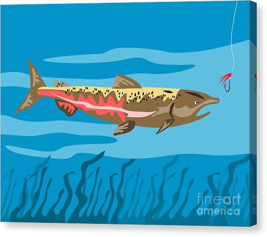 Trout Fish Retro Canvas Print by Aloysius Patrimonio