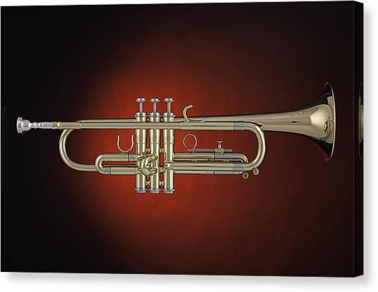 Trumpet Red Spotlight  Canvas Print