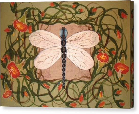Trumpet Vine With Dragonfly Canvas Print
