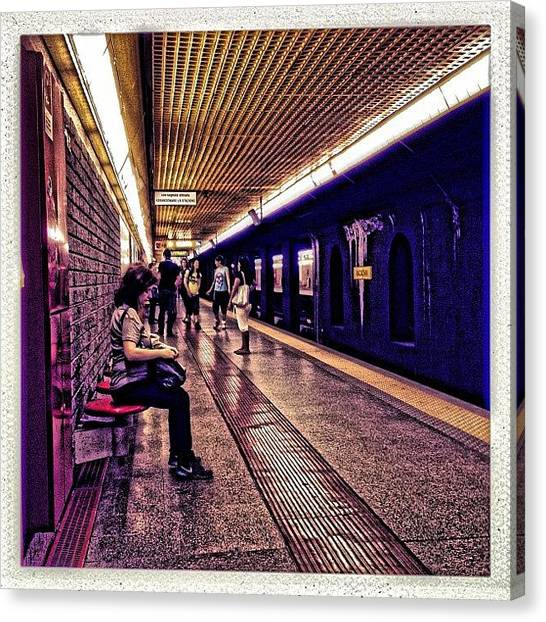 London Tube Canvas Print - Tube #iphone #instagram #iphoneography by Roberto Pagani