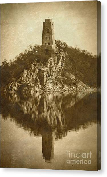 Tucker Tower In Sepia Canvas Print by Royce  Gideon