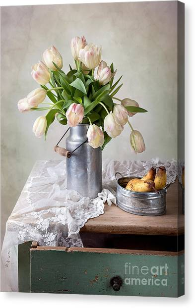 Tulips Canvas Print - Tulips And Pears by Nailia Schwarz