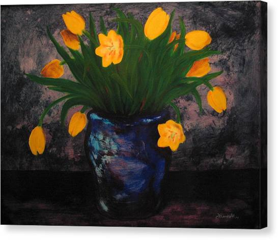 Tulips In Blue Canvas Print