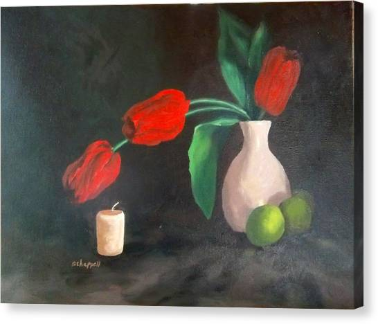 Tulips Limes And Candle Canvas Print