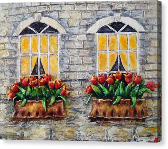 Tulips On The Wall Canvas Print