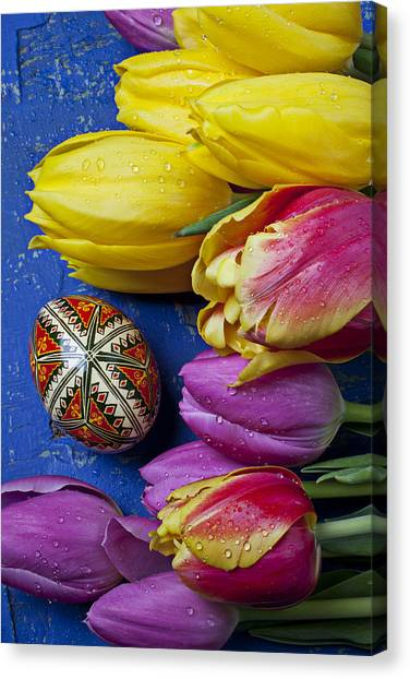 Easter Eggs Canvas Print - Tulips With Easter Egg by Garry Gay