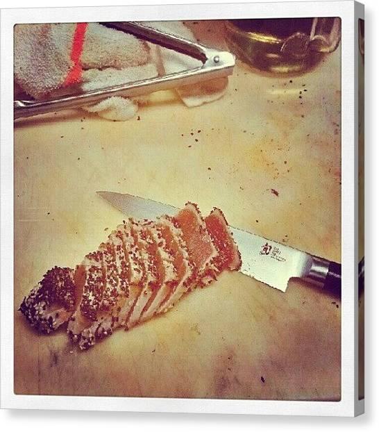 Tuna Canvas Print - #tuna #foods #shun by Cameron Adams