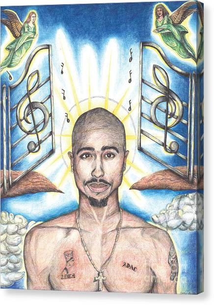 Hip Hop Canvas Print - Tupac In Heaven by Debbie DeWitt