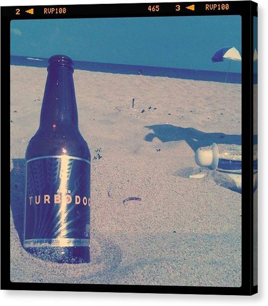 Beer Canvas Print - #turbodog #beer #beach #ocean #chill by Emily W