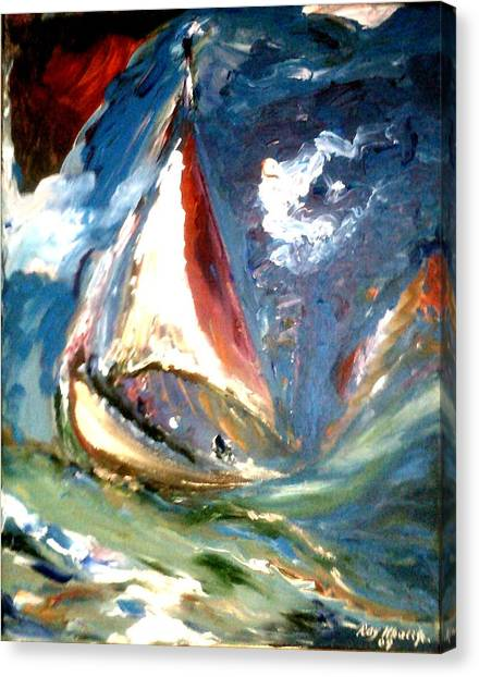 Canvas Print featuring the painting Turmoil by Ray Khalife