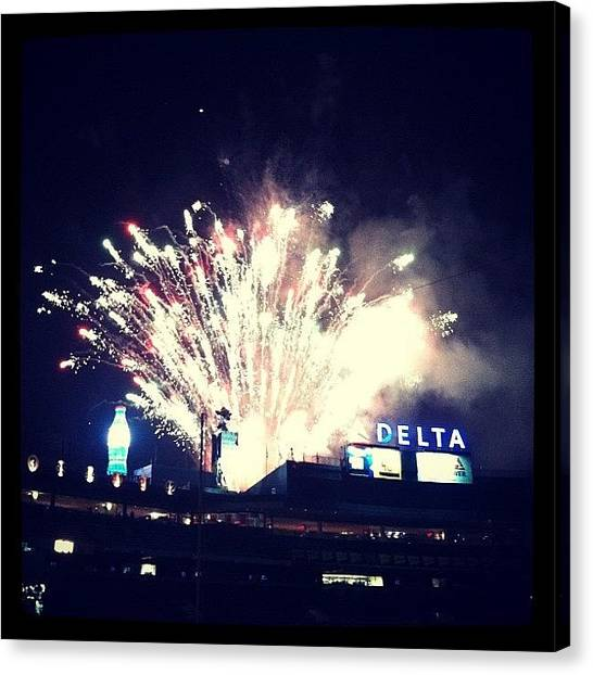 Atlanta Braves Canvas Print - Turner Field Fireworks by Erin Egan