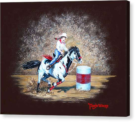 Barrel Racing Canvas Print - Turns On A Dime by Tanja Ware