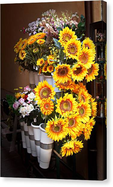 Tuscan Flower Stand Canvas Print