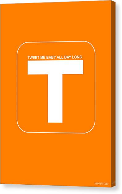Harvard Canvas Print - Tweet Me Baby All Night Long Orange Poster by Naxart Studio