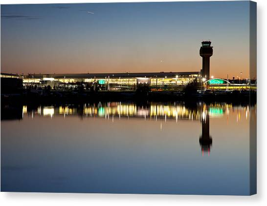 Air Traffic Control Canvas Print - Twilight At Anchorage International Airport by Tim Grams