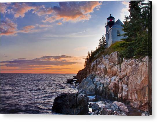 Twilight At The Bass Harbor Head Light  Canvas Print by Jim Neumann