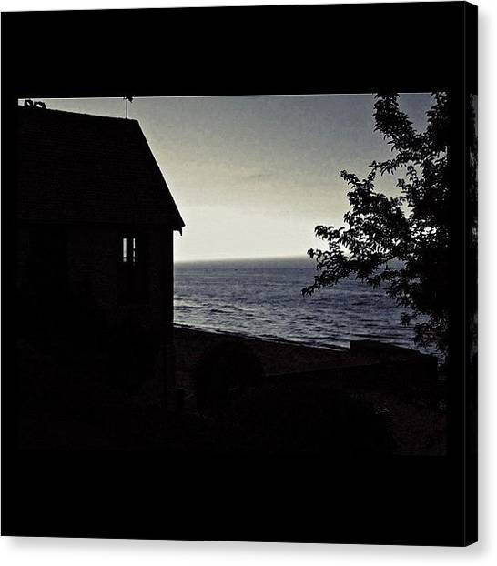 Beach Sunsets Canvas Print - Twilight In Bw   by Justin Connor