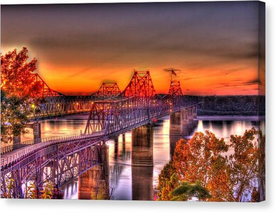 Canvas Print featuring the photograph Twin Bridge At Sunset-hdr by Barry Jones