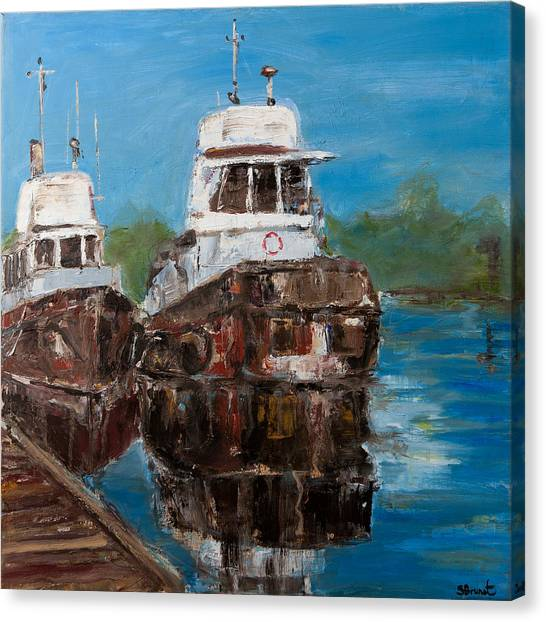 Twin Tugs Canvas Print by Sophie Brunet