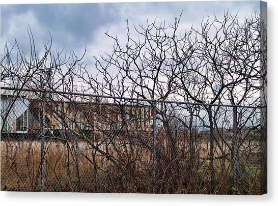 Chain Link Fence Canvas Print - Twisted-2 by Peter Chilelli