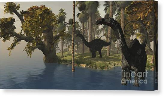 Brontosaurus Canvas Print - Two Apatosaurus Dinosaurs Visit An by Corey Ford