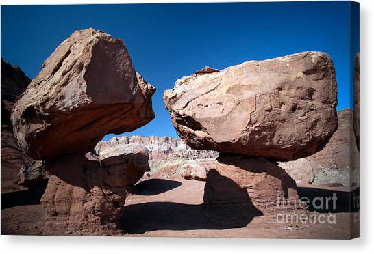 Two Balancing Boulders In The Desert Canvas Print