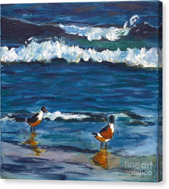 Two Birds With Waves Canvas Print