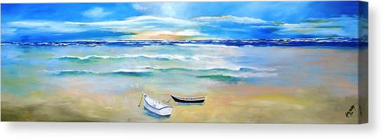 Two Boats Ashore  Canvas Print