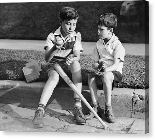 Two Boys Playing Baseball Canvas Print by George Marks