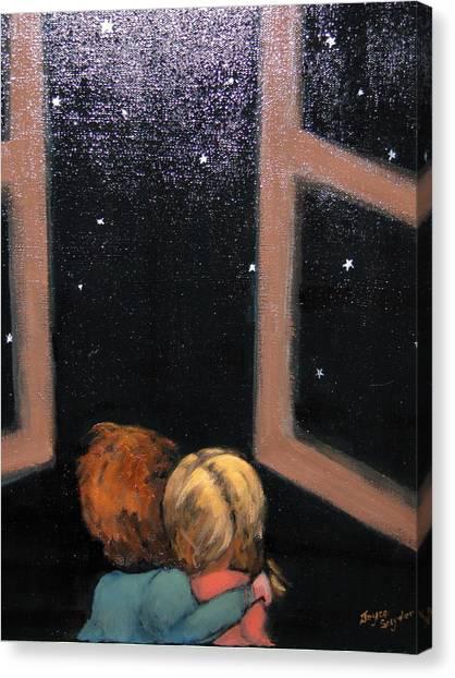Two Kids Stargazing Canvas Print