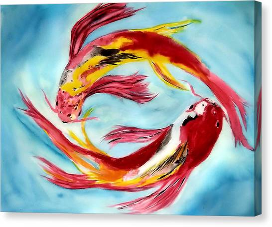 Two Koi For Words Canvas Print