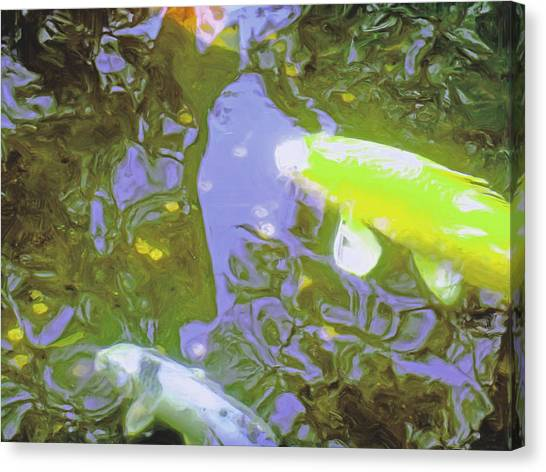 Two Koi In Water Garden Canvas Print by Jerry Grissom